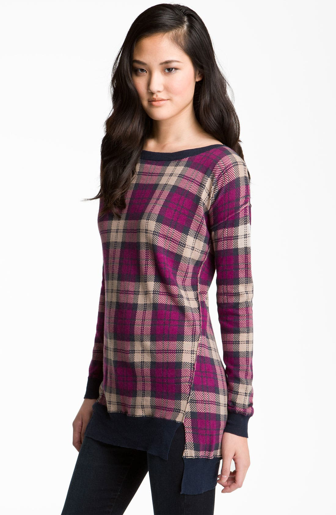 Alternate Image 1 Selected - Trouvé Plaid Tunic Sweater