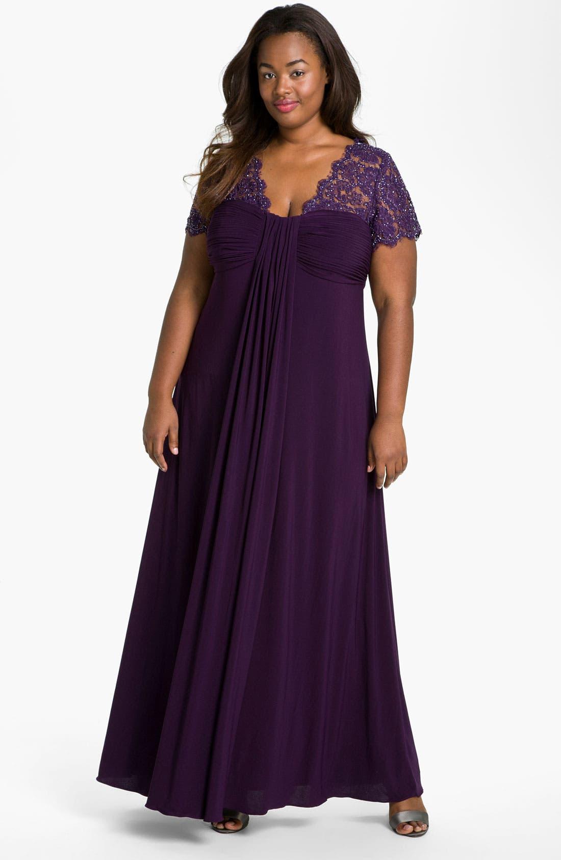 Main Image - JS Boutique Beaded Lace & Jersey Dress (Plus)