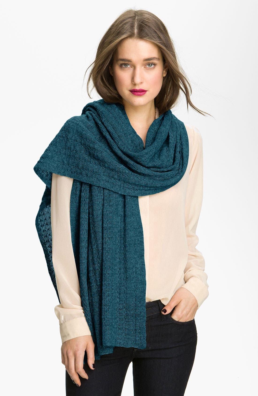 Alternate Image 1 Selected - Nordstrom Collection 'Lattice Ribbon' Cashmere Wrap
