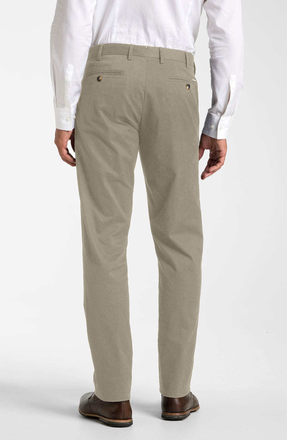 Alternate Image 2  - Façonnable Flat Front Cotton Twill Trousers