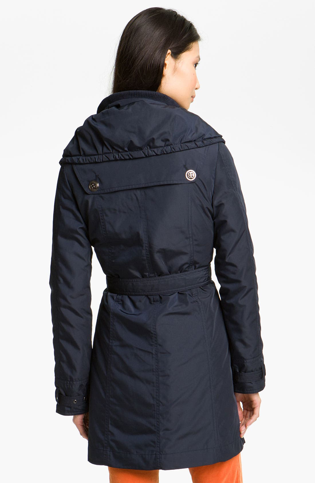 Puff Collar Belted Coat,                             Alternate thumbnail 2, color,                             Navy