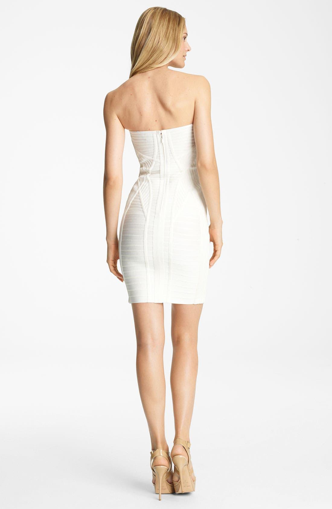 Alternate Image 2  - Herve Leger Hardware Detail Strapless Bandage Dress