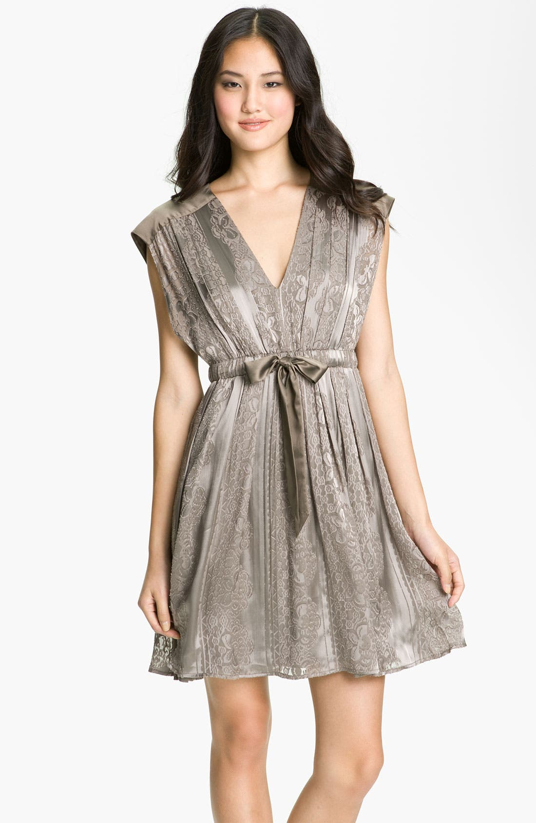 Main Image - Jessica Simpson V-Neck Burnout Satin Dress