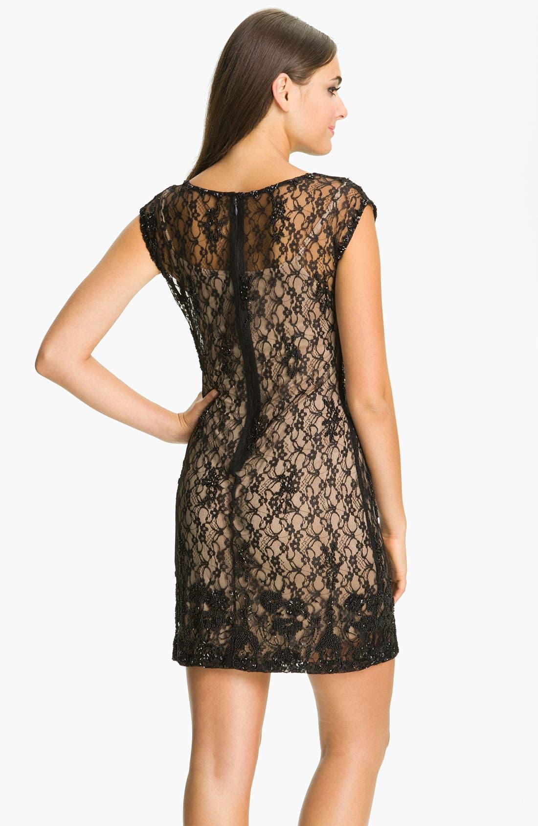 Alternate Image 2  - Aidan Mattox Cap Sleeve Lace Overlay Slip Dress