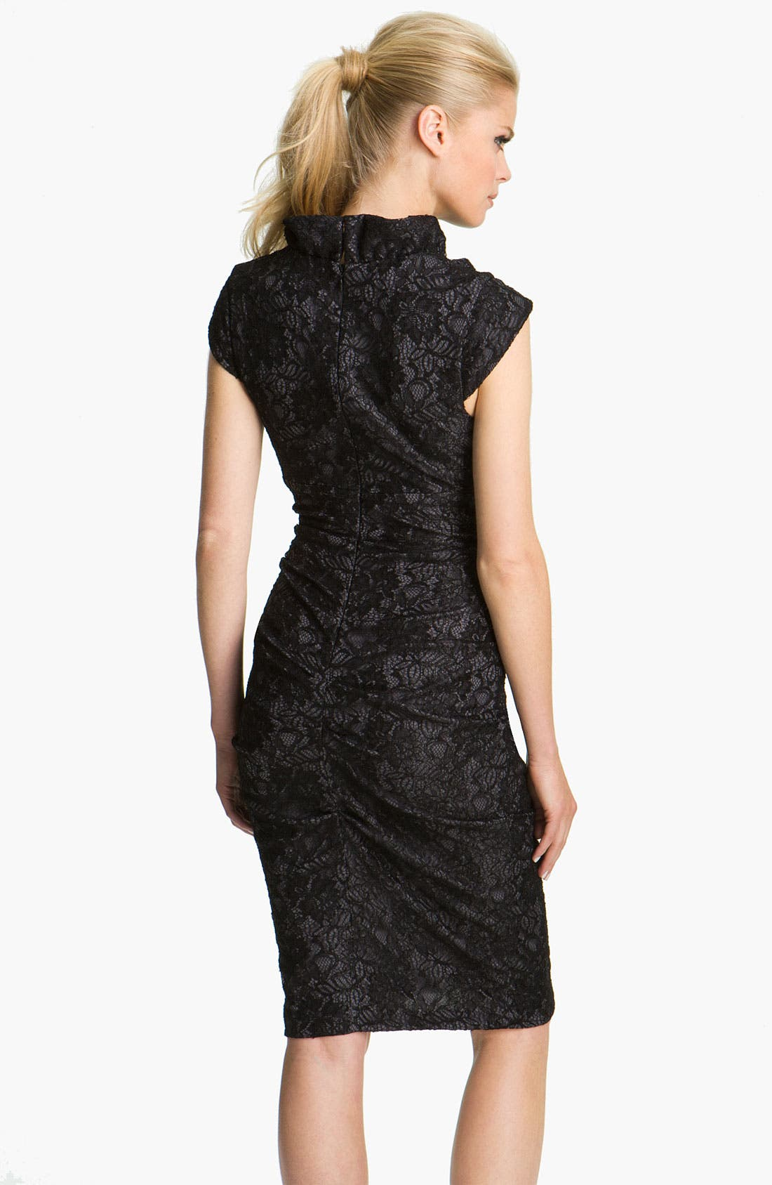 Alternate Image 2  - Xscape Ruched Ruffle Collar Lace Dress