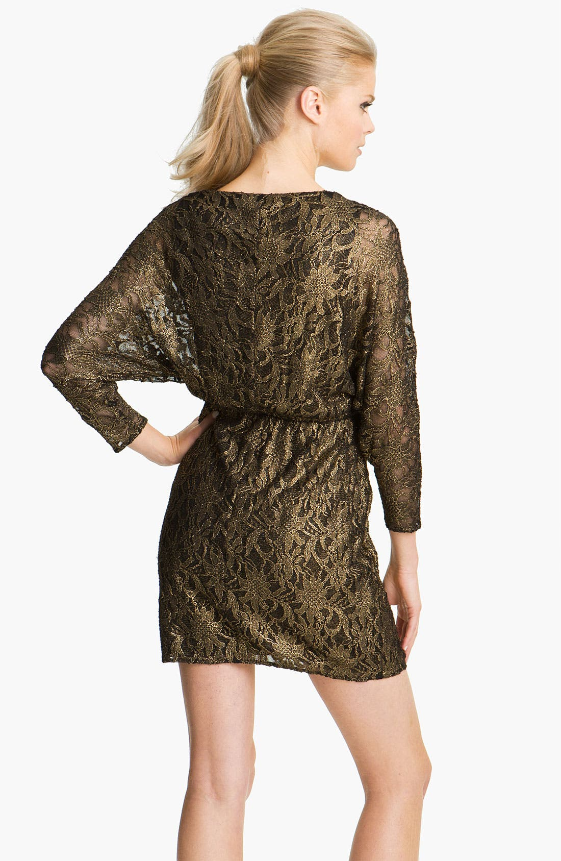 Alternate Image 2  - Trina Turk 'Birch' Metallic Lace Blouson Dress