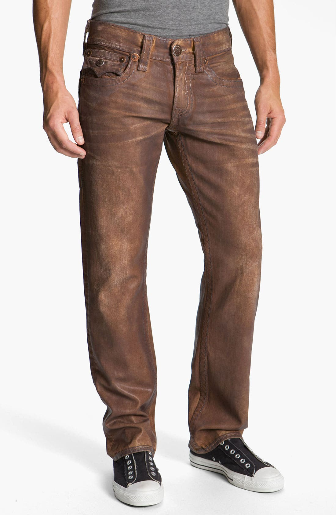 Alternate Image 2  - True Religion Brand Jeans 'Ricky - Natural Super T' Straight Leg Jeans (Brown) (Save Now through 12/9)