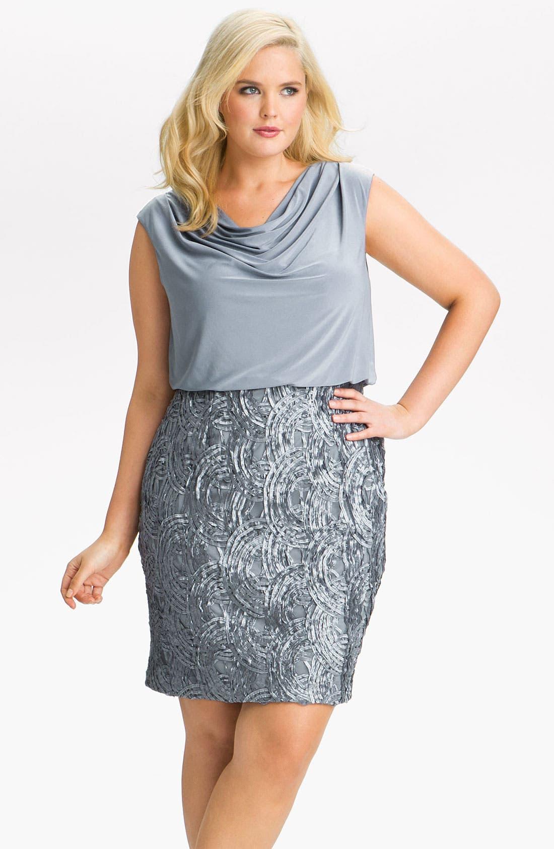 Alternate Image 1 Selected - Adrianna Papell Soutache Trim Blouson Dress (Plus)