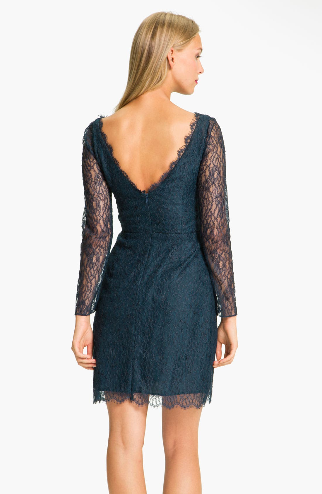 Alternate Image 2  - Shoshanna 'Minka' Long Sleeve Chantilly Lace Dress