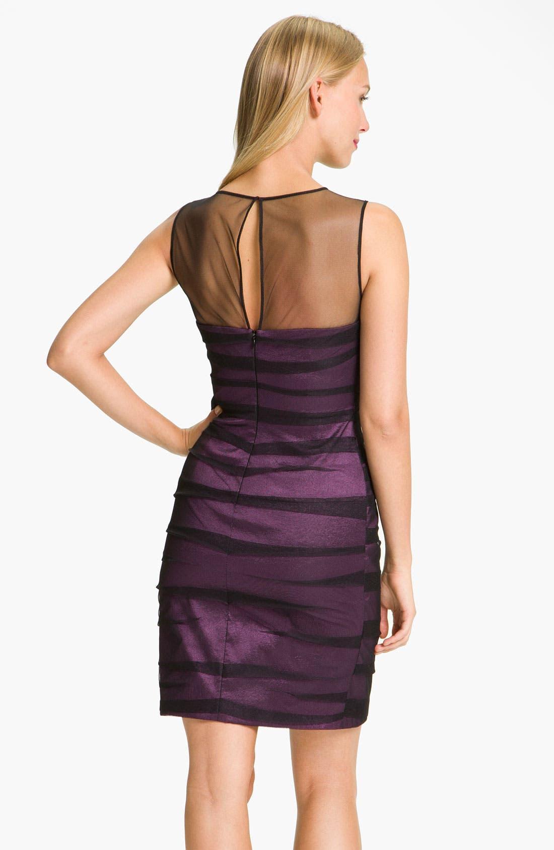 Alternate Image 2  - JS Collections Shirred Illusion Yoke Sheath Dress