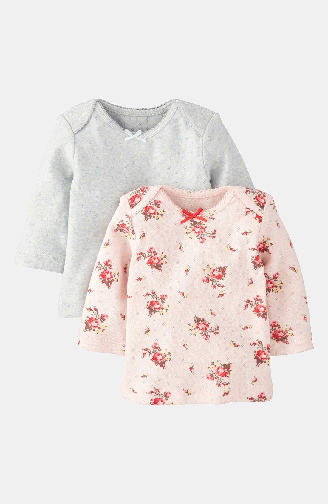 Alternate Image 1 Selected - Mini Boden Pointelle Tee (2-Pack) (Infant)