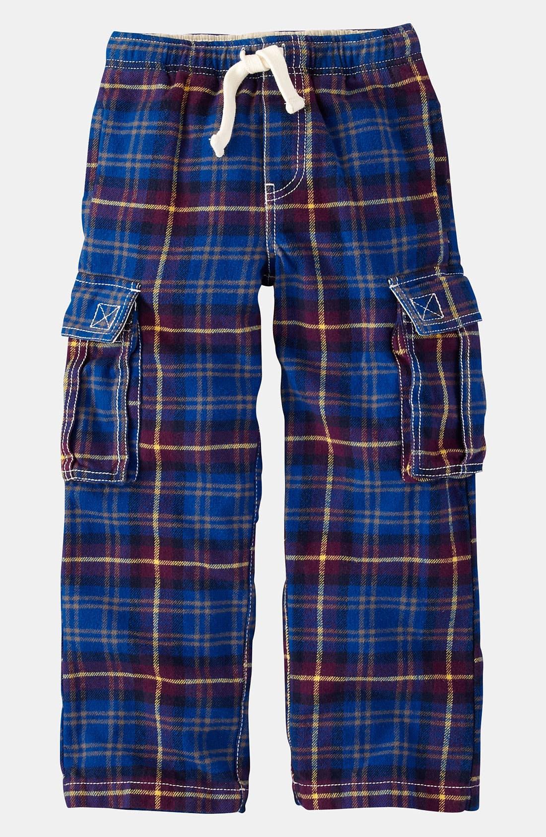 Main Image - Mini Boden Brushed Tartan Cargo Pants (Toddler)