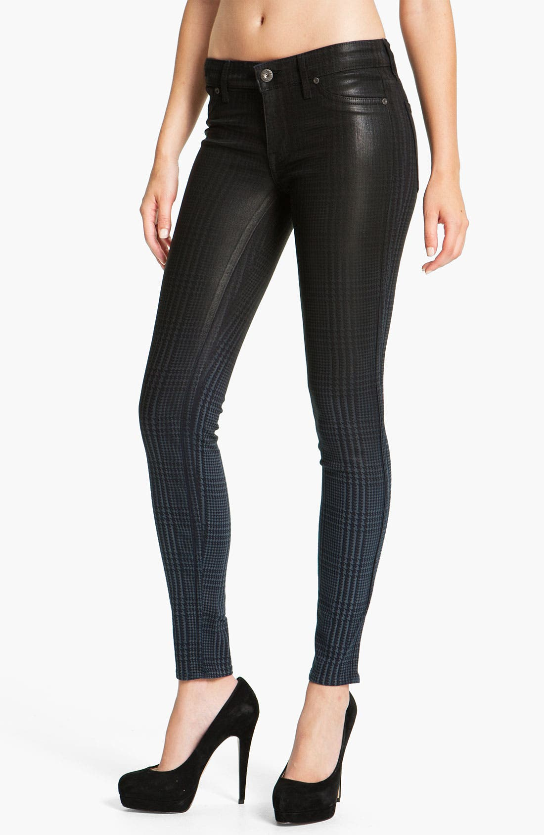 Main Image - Rich & Skinny 'Legacy' Coated Skinny Jeans (Oil Plaid)