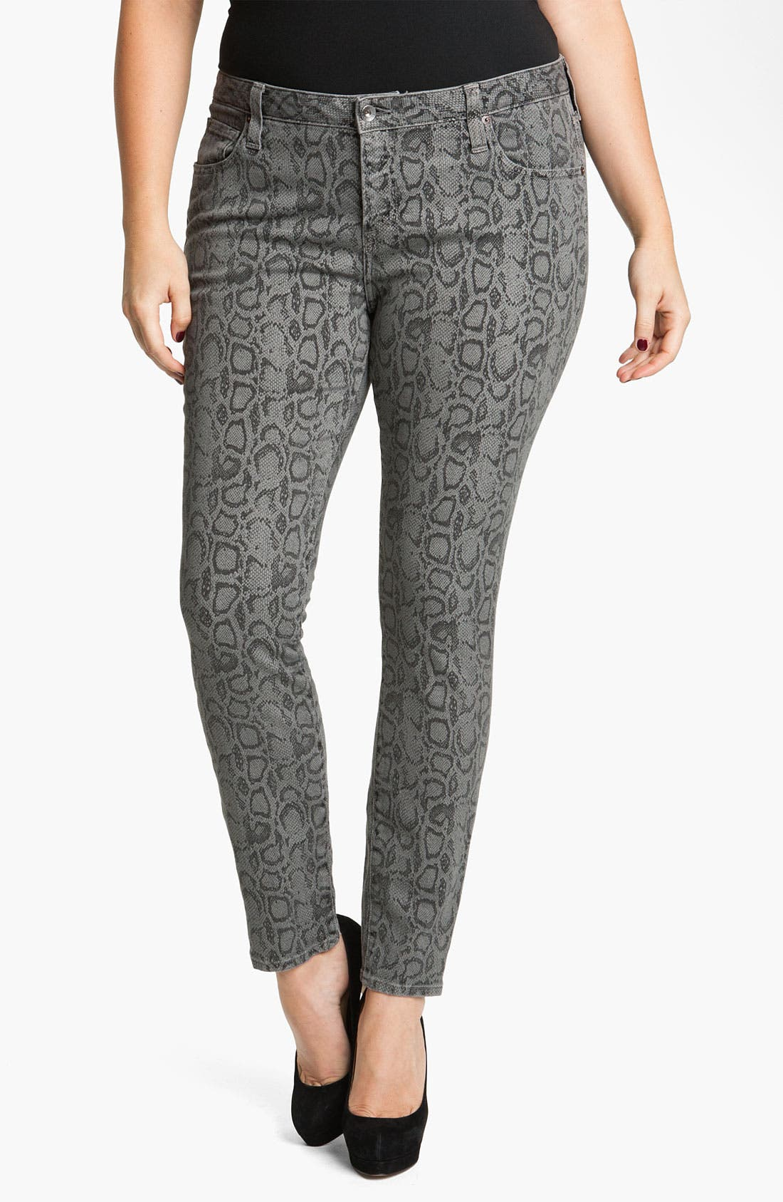 Alternate Image 1 Selected - Lucky Brand 'Ginger' Snake Print Skinny Jeans (Plus)