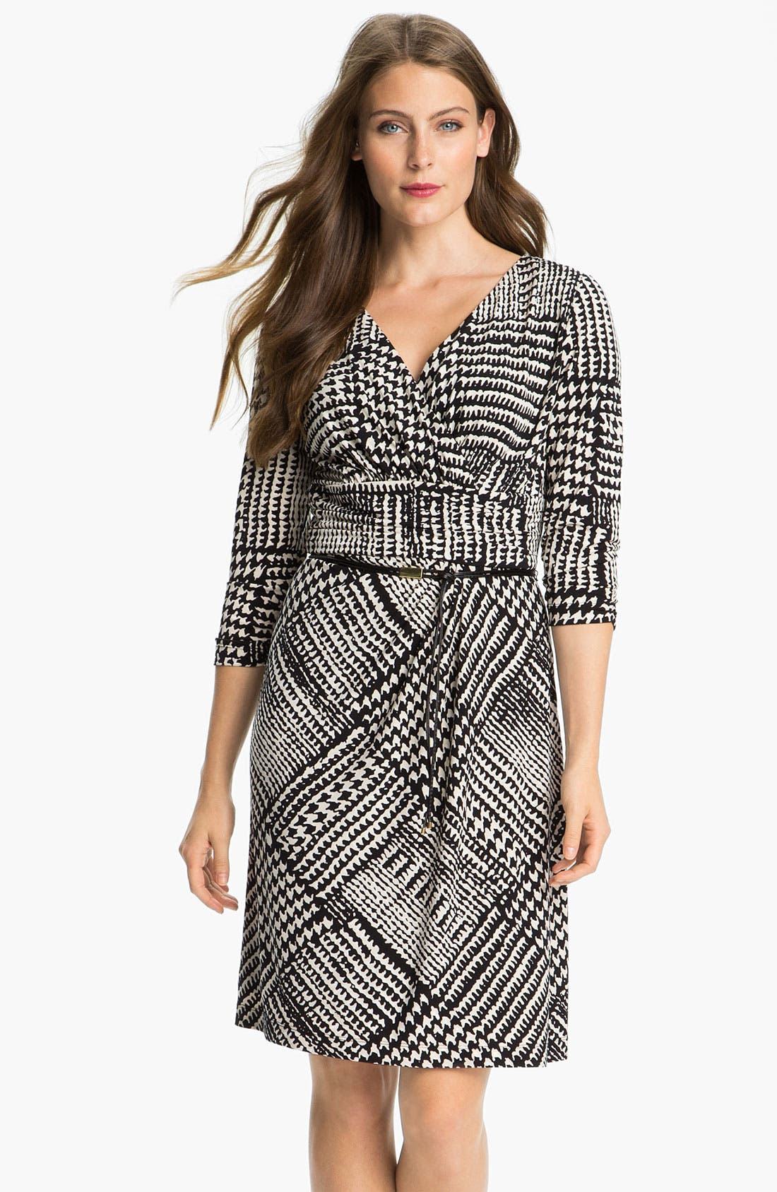 Alternate Image 1 Selected - Tahari Houndstooth Belted Jersey Dress