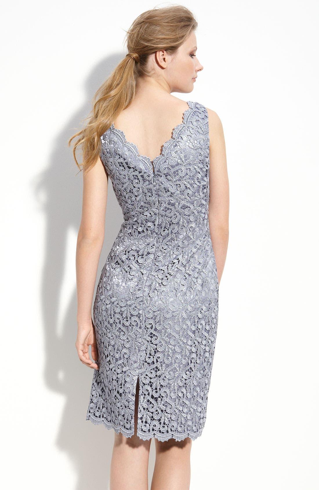 Alternate Image 2  - Adrianna Papell Lace Sheath Dress (Petite)