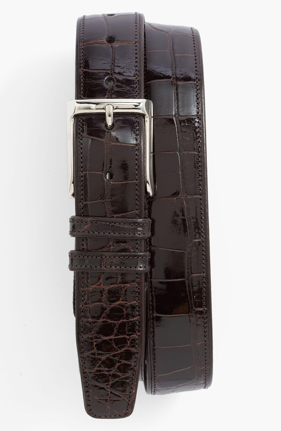 Alligator Belt,                         Main,                         color, Dark Brown