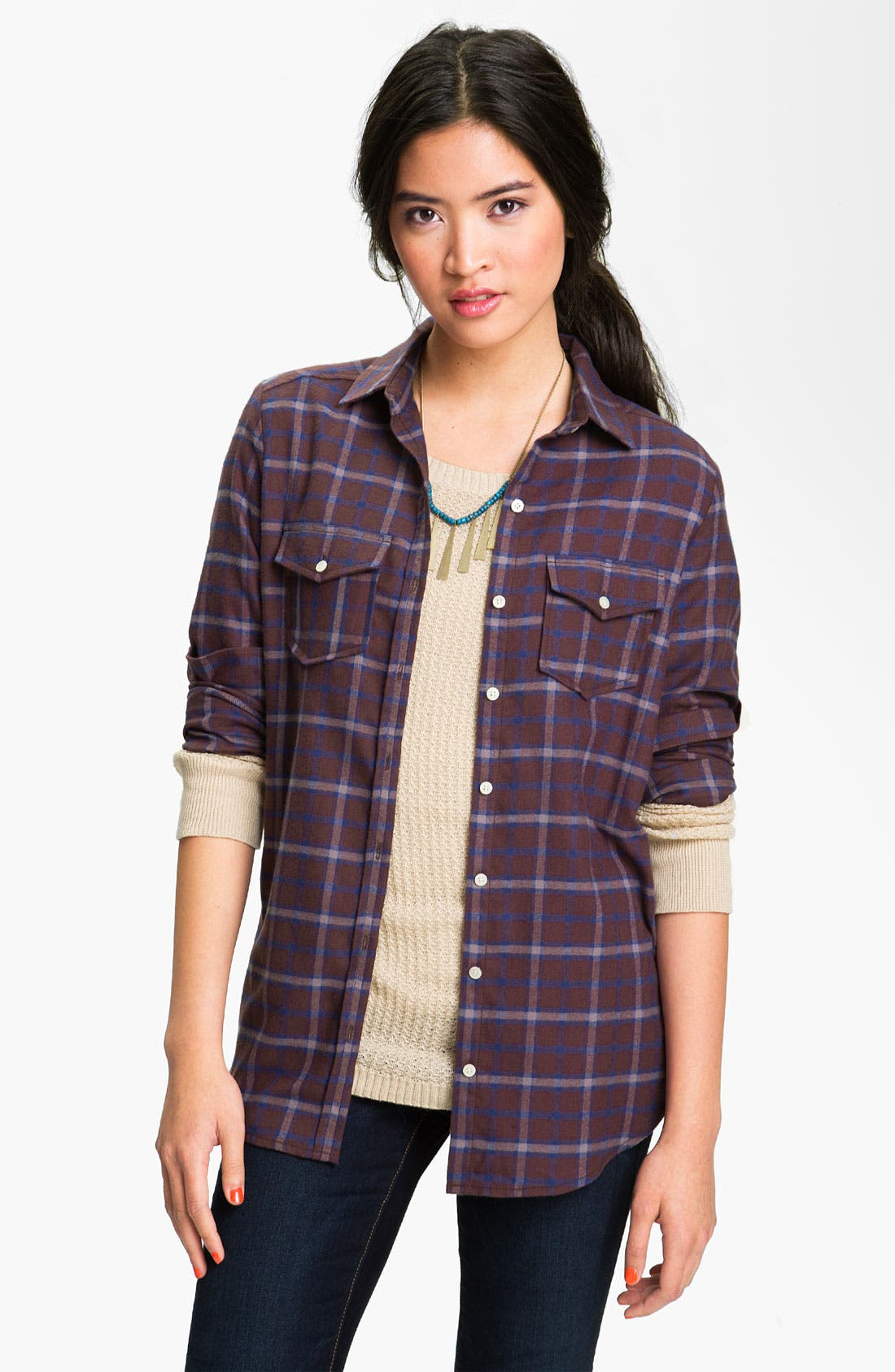 Alternate Image 1 Selected - Rubbish® Plaid Cotton Shirt (Juniors)