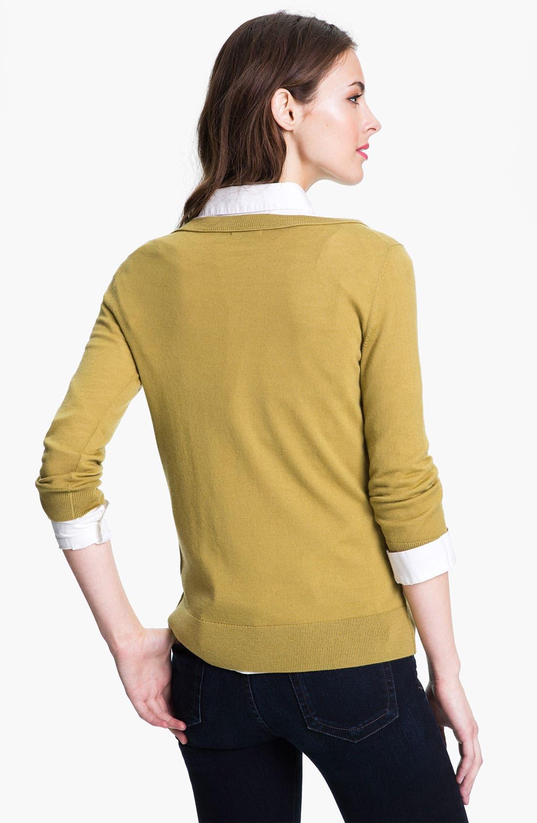 Alternate Image 2  - Halogen® Merino Crewneck Sweater