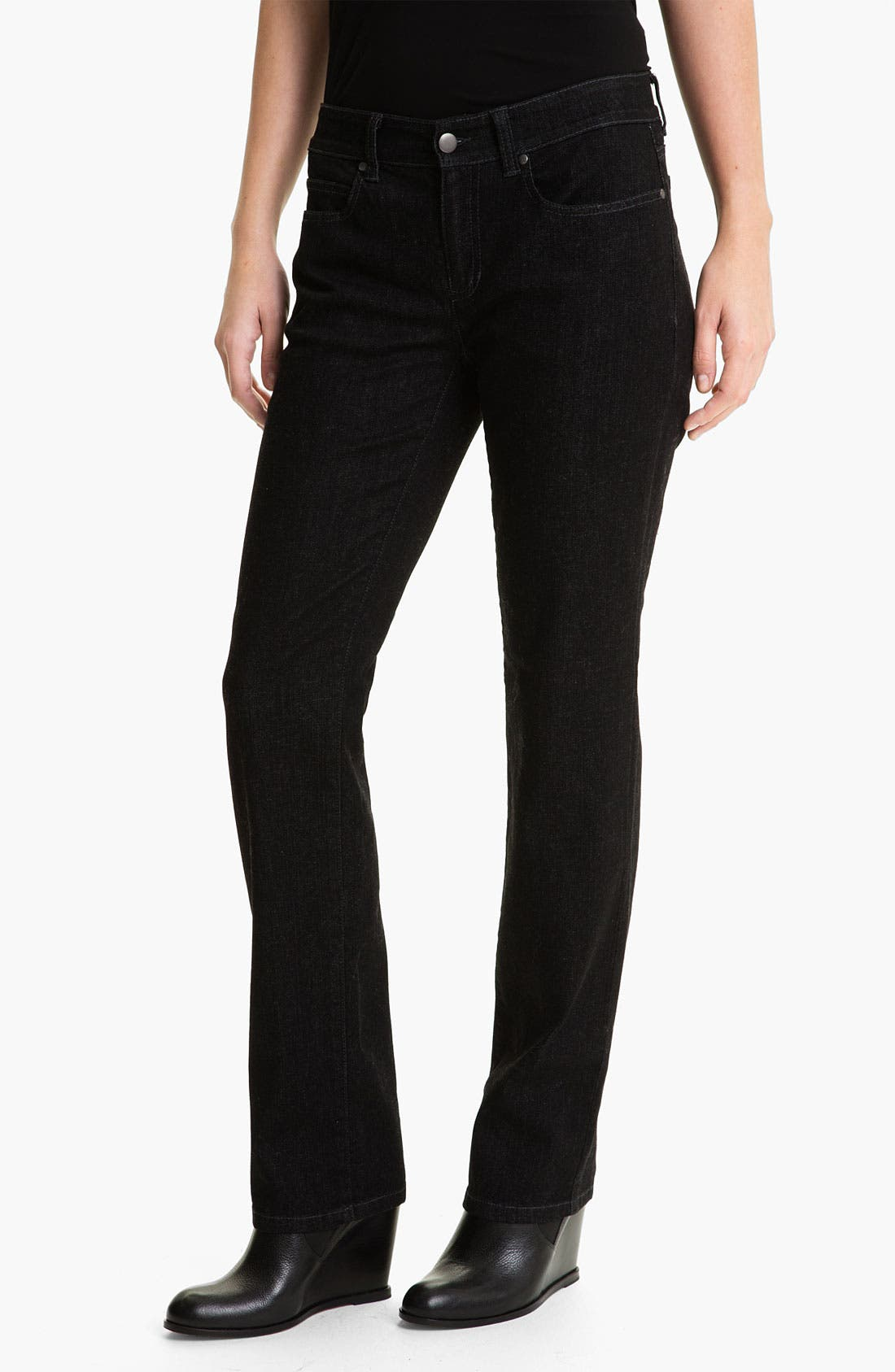 Main Image - Eileen Fisher Straight Leg Stretch Jeans