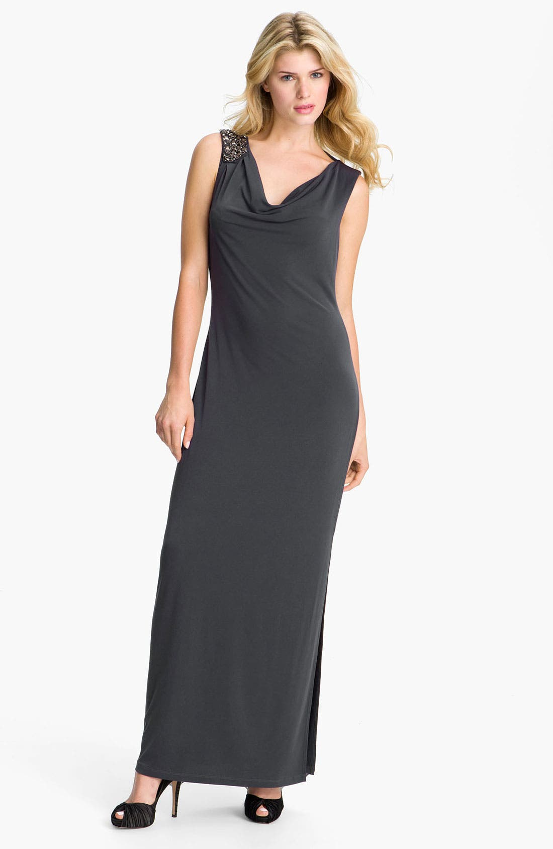 Main Image - Calvin Klein Draped Open Back Jersey Gown