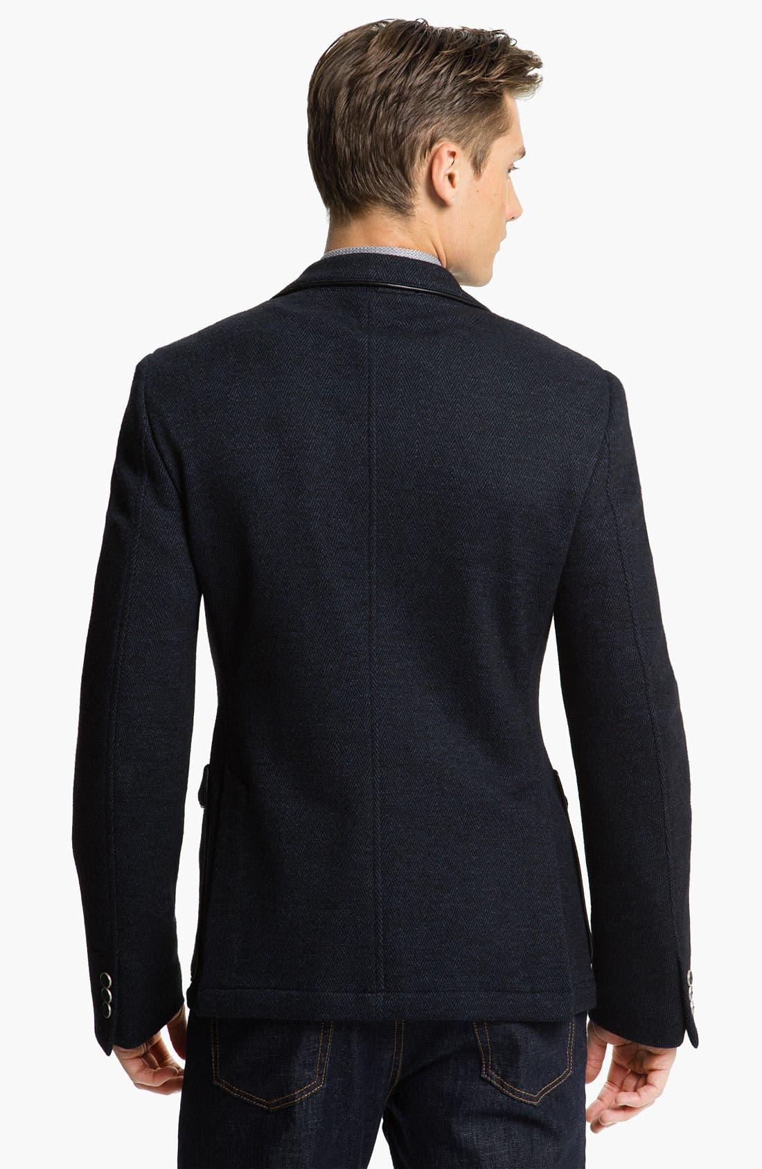 Alternate Image 2  - Versace Trim Fit Leather Trim Blazer