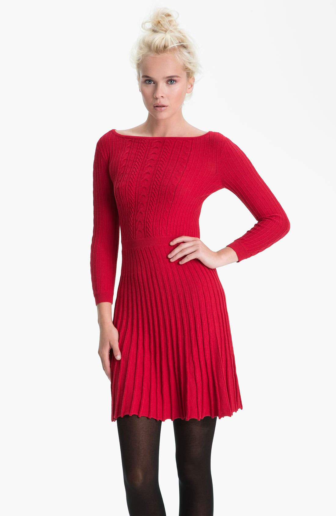 Main Image - BCBGMAXAZRIA Boat Neck Cable Knit Sweater Dress