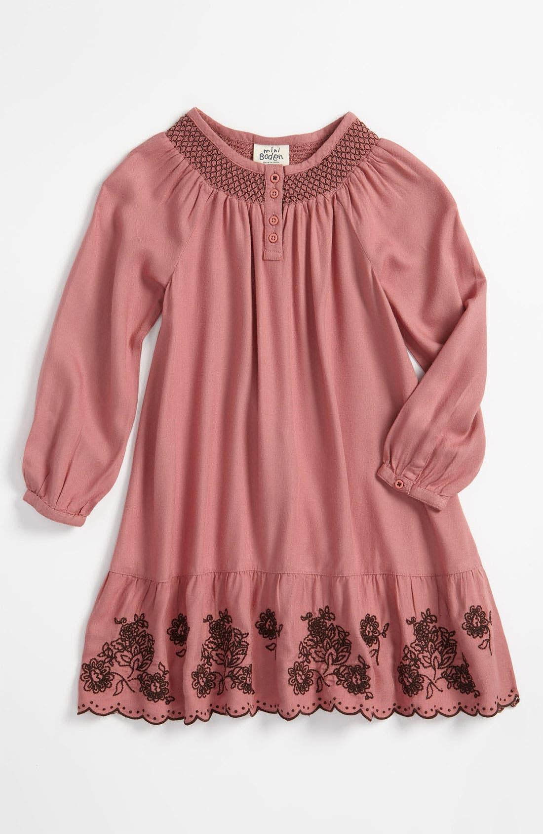 Alternate Image 1 Selected - Mini Boden Embroidered Hem Dress (Little Girls & Big Girls)