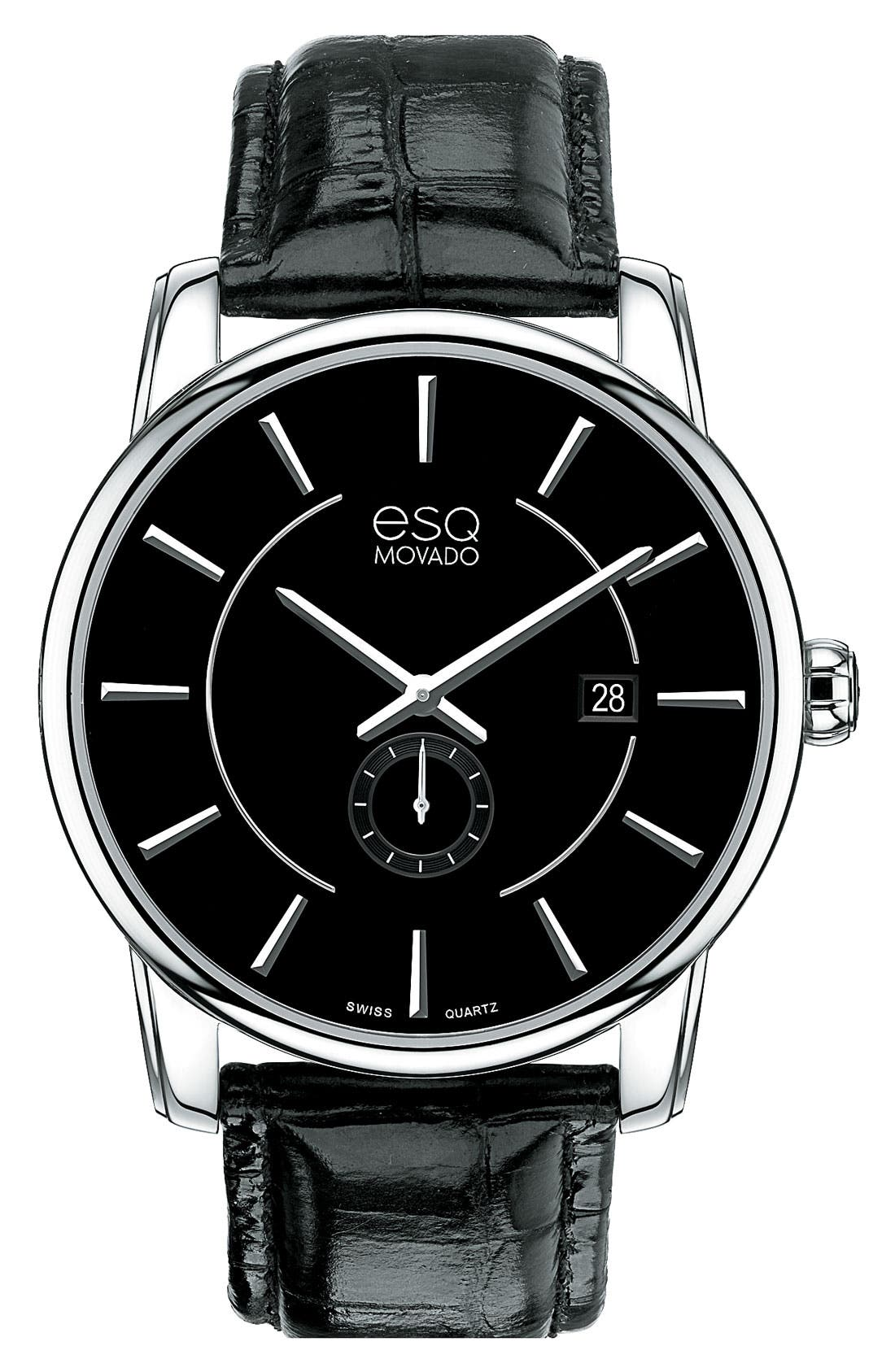 Main Image - ESQ Movado 'Capital' Round Leather Strap Watch, 42mm