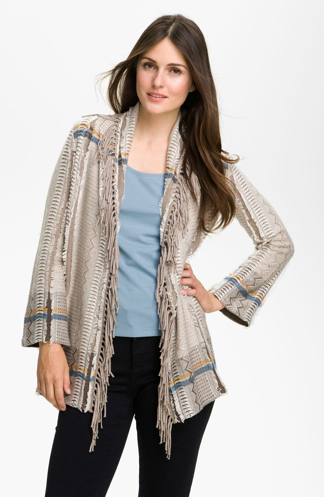 Alternate Image 1 Selected - Nic + Zoe Fringed Shawl Collar Cardigan