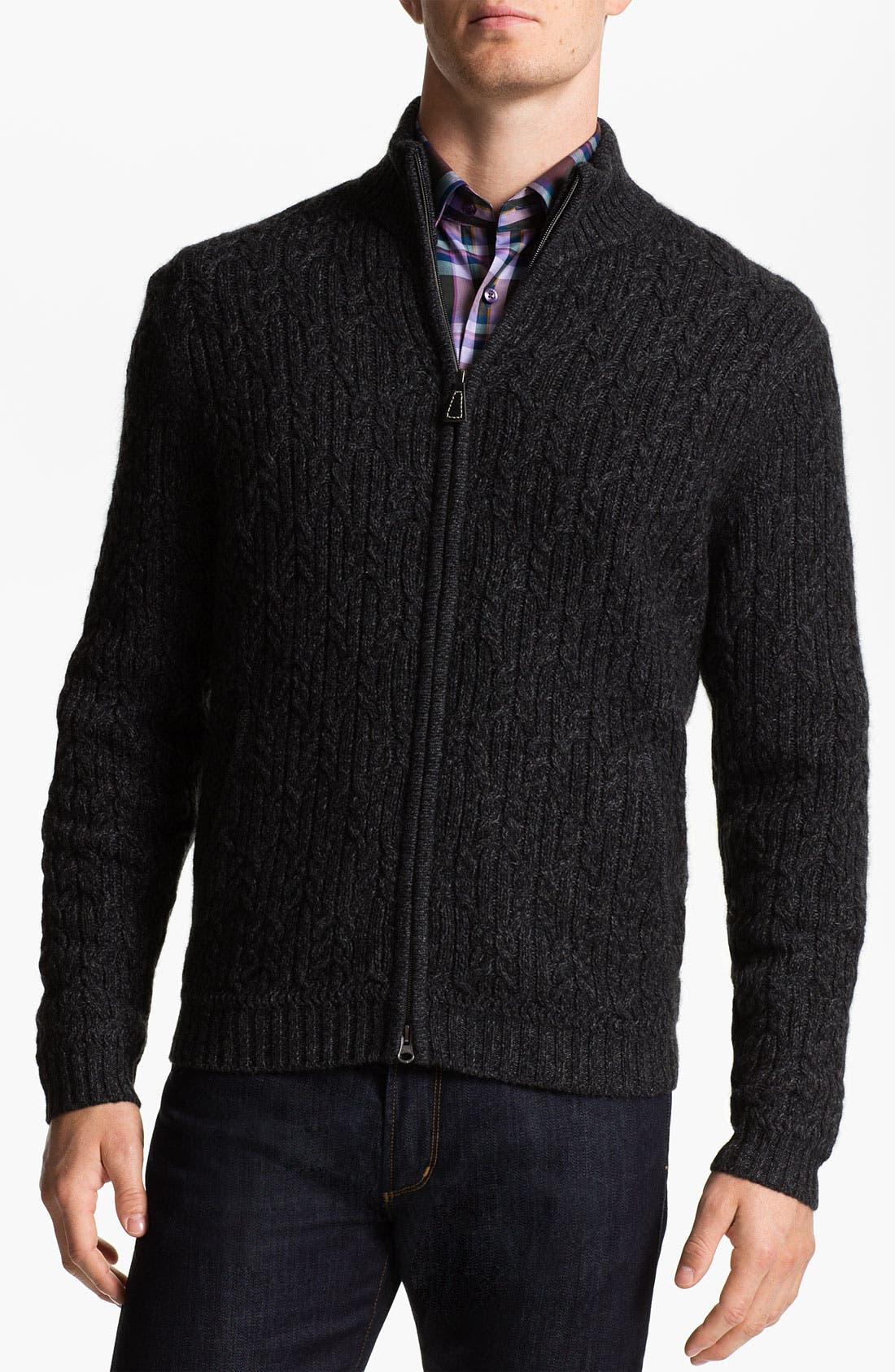 Alternate Image 1 Selected - John W. Nordstrom® Cable Knit Cashmere Cardigan