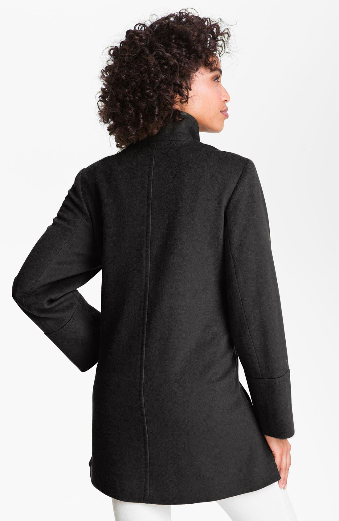 Alternate Image 2  - Fleurette Stand Collar Loro Piana Wool Jacket (Petite)