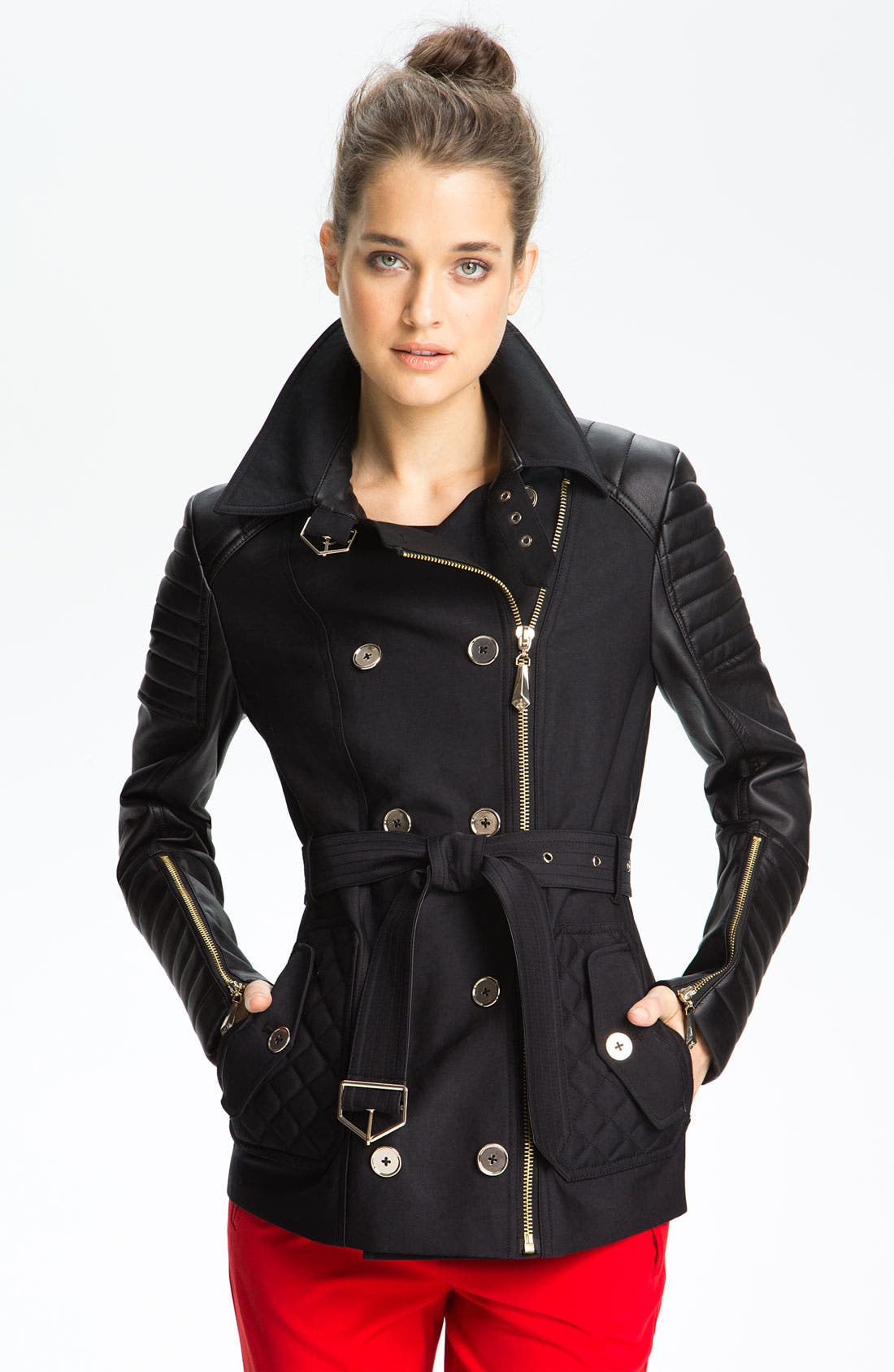 Mixed Media Trench Coat,                             Main thumbnail 1, color,                             Black