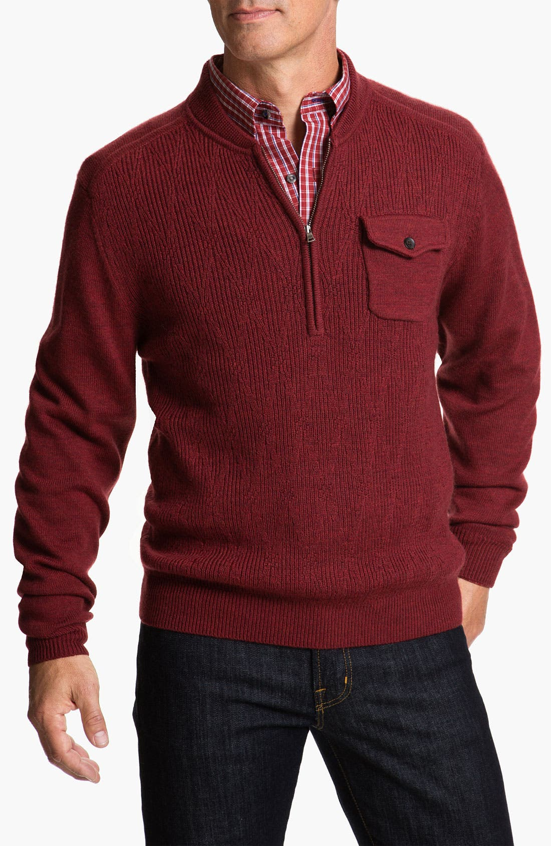 Main Image - Cutter & Buck 'Brandywine' Argyle Textured Merino Wool Sweater (Big & Tall)