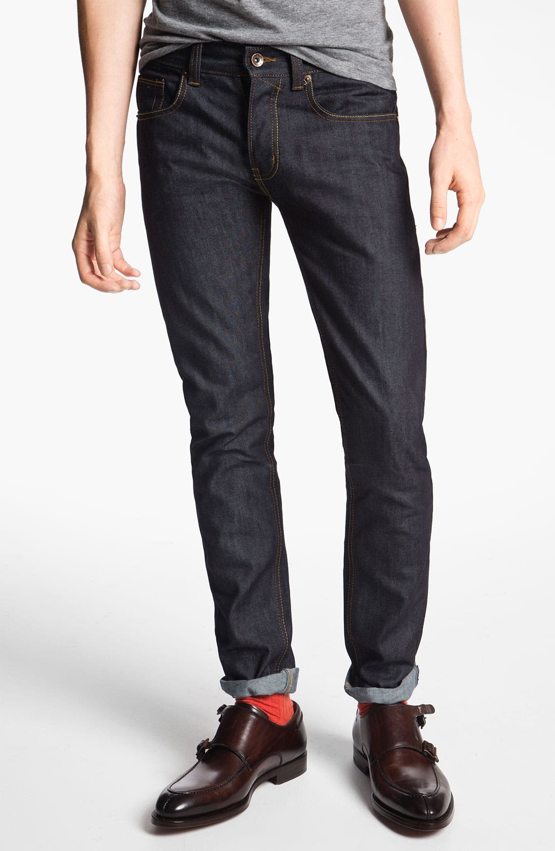 Alternate Image 1 Selected - Topman 'Flynn' Skinny Jeans (Indigo)