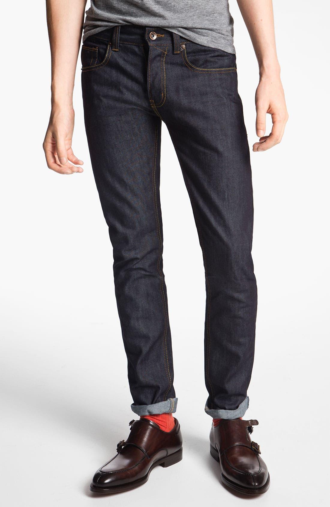 Main Image - Topman 'Flynn' Skinny Jeans (Indigo)