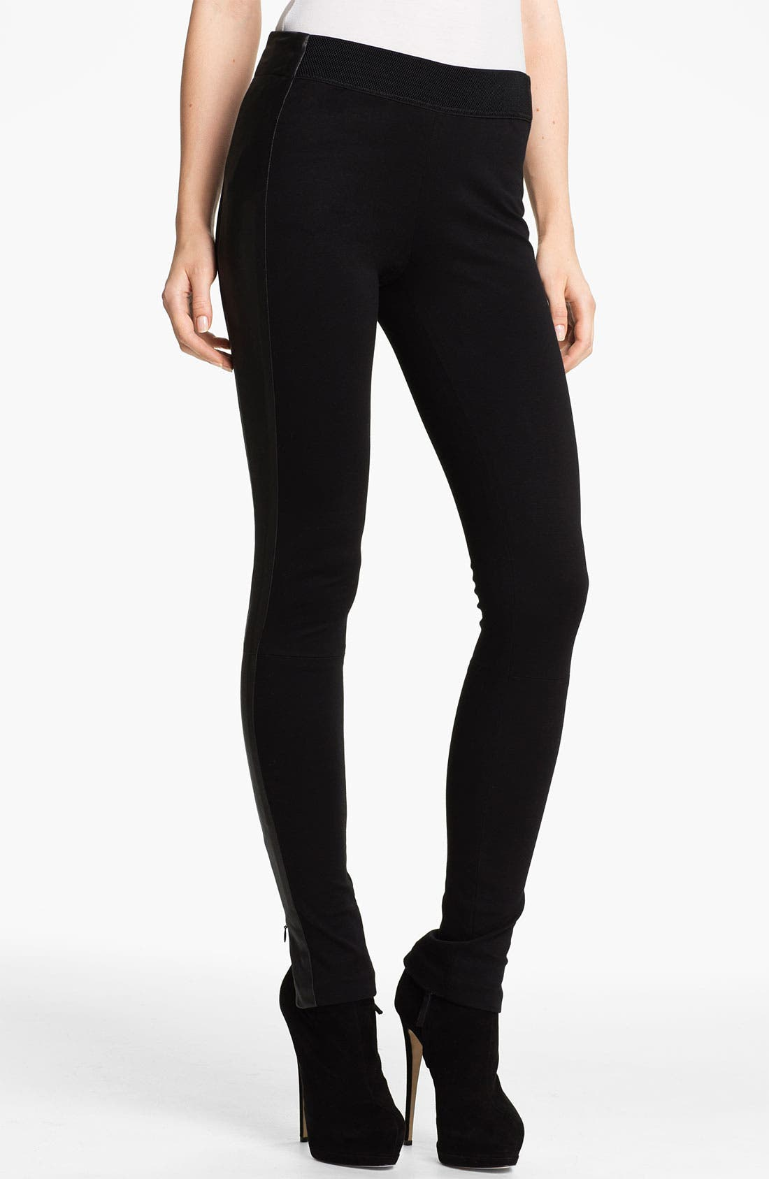Alternate Image 1 Selected - rag & bone 'Renard' Leather Tuxedo Stripe Leggings