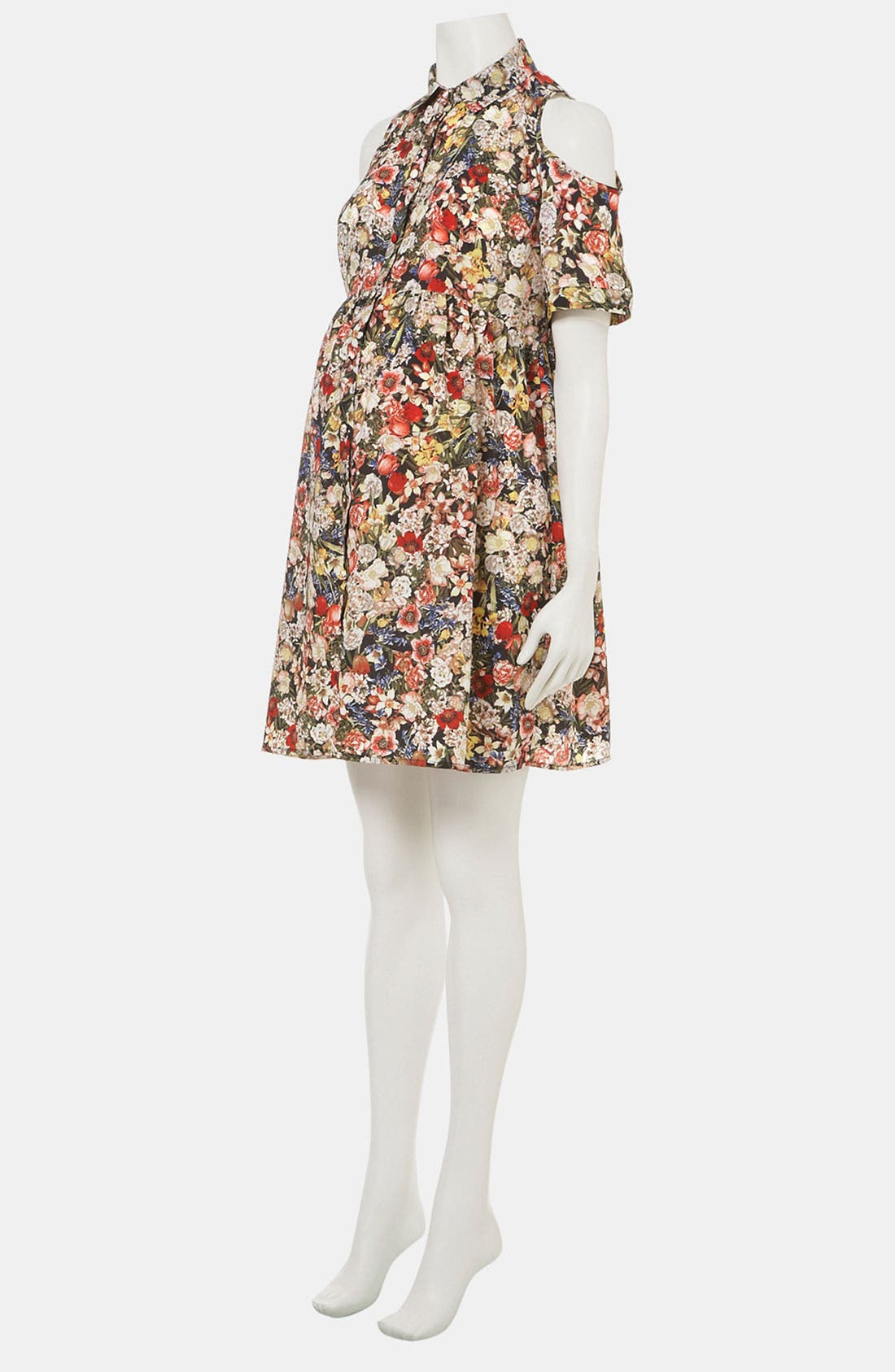Alternate Image 2  - Topshop Floral Cutout Maternity Shirtdress