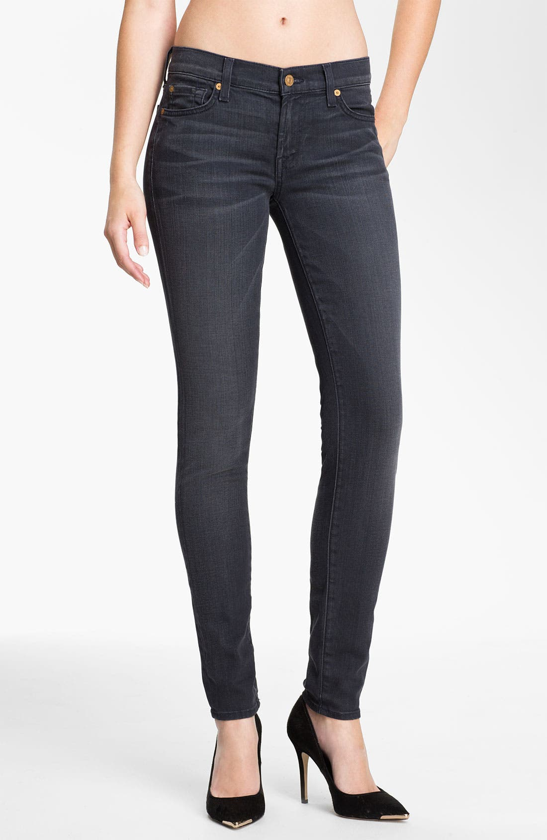 Main Image - 7 For All Mankind® Skinny Stretch Jeans (Dark Pebbled Cloud)