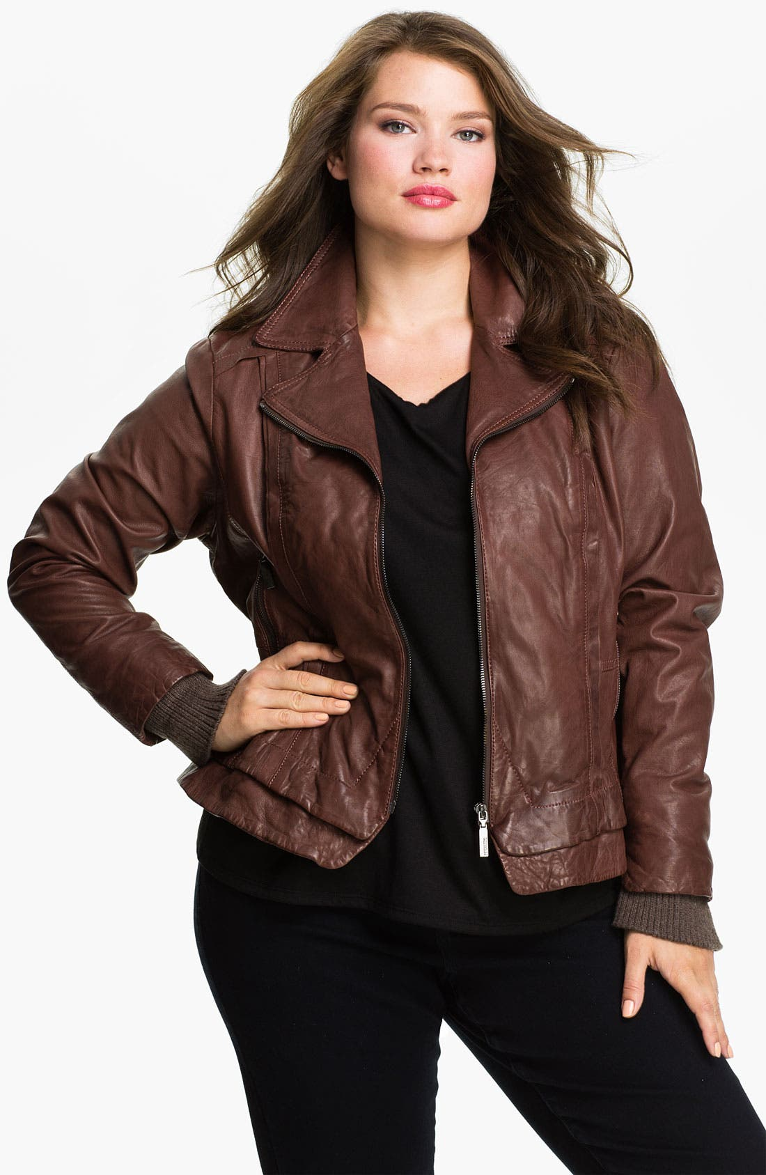 Main Image - Bernardo Knit Cuff Leather Jacket (Plus)