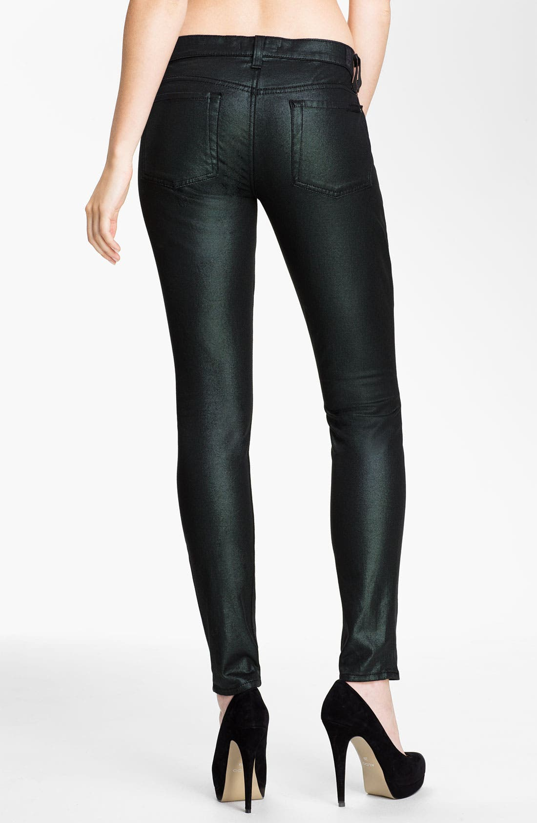 Alternate Image 2  - 7 For All Mankind® 'The Skinny' Coated Jeans (Metallic Emerald)