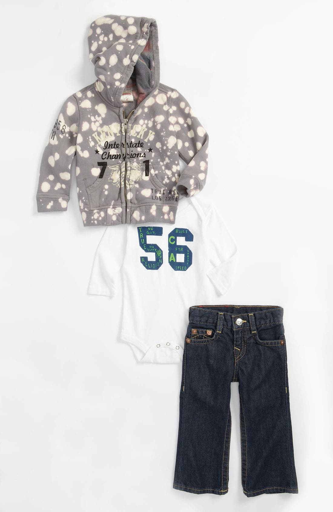 Alternate Image 1 Selected - True Religion Brand Jeans Bodysuit, Hoodie & Jeans Gift Set (Baby)