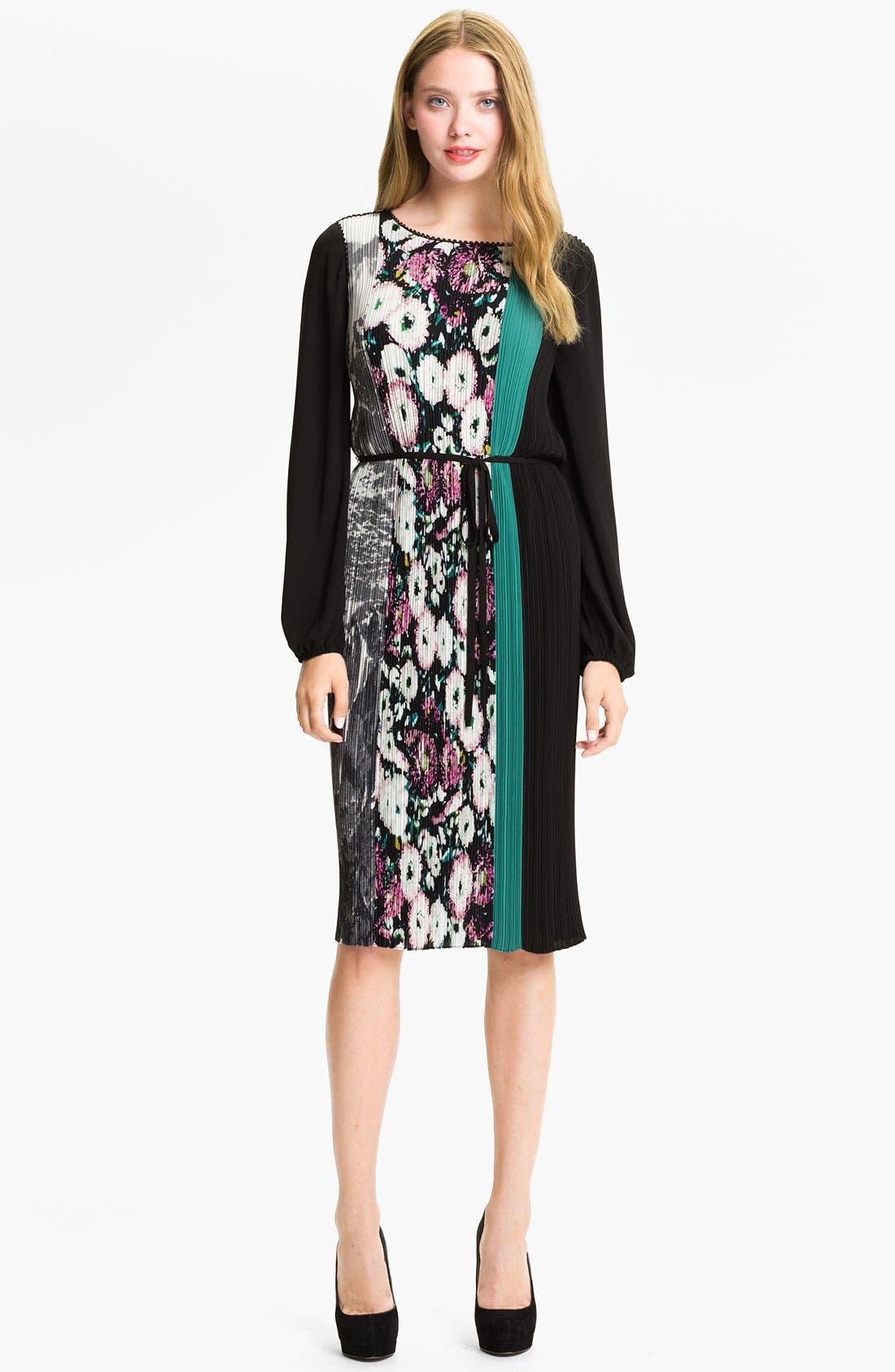 Main Image - BCBGMAXAZRIA Mixed Print Pleated Blouson Dress