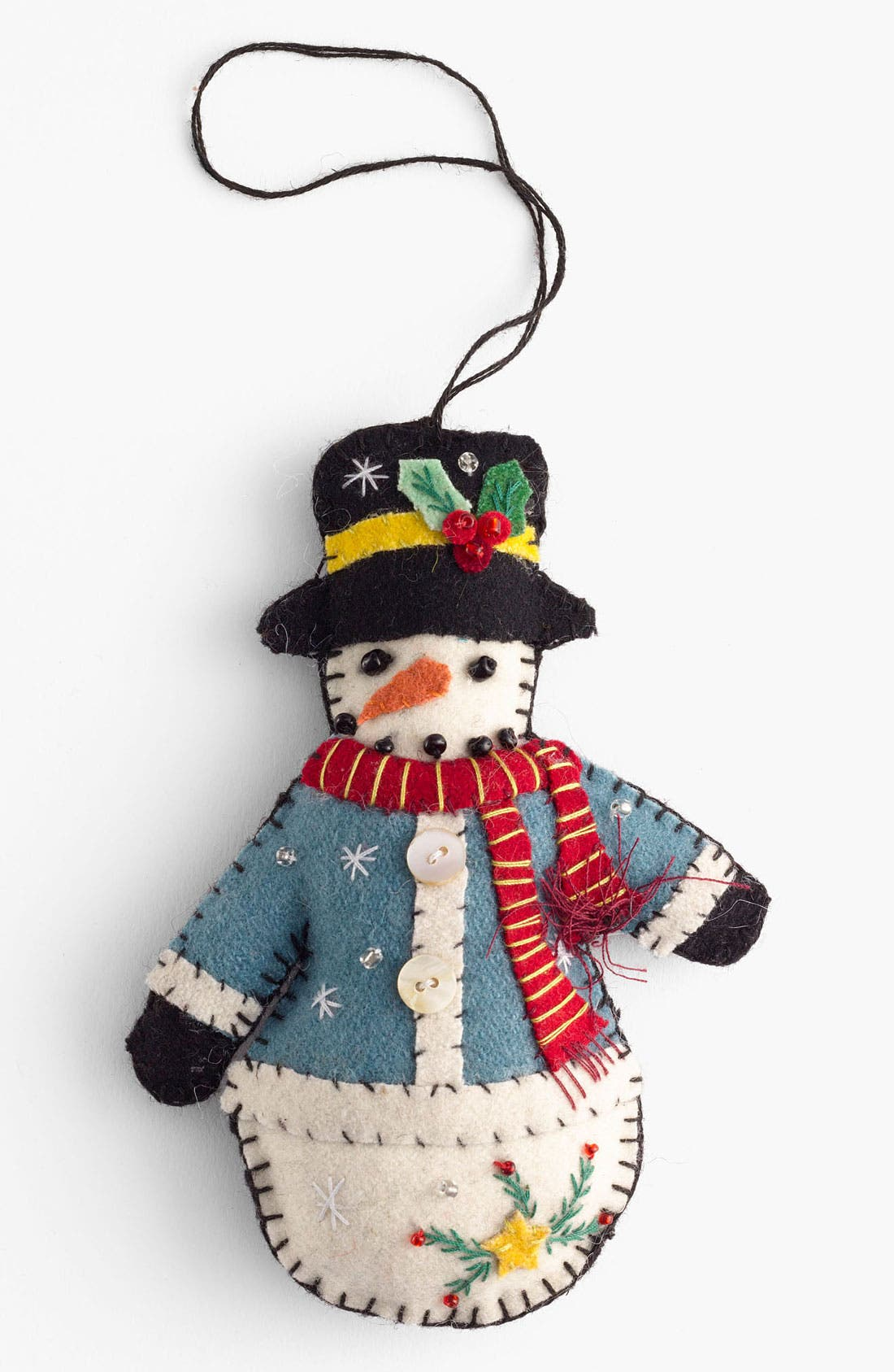 Alternate Image 1 Selected - New World Arts 'Puffy Snowman with Blue Coat' Ornament