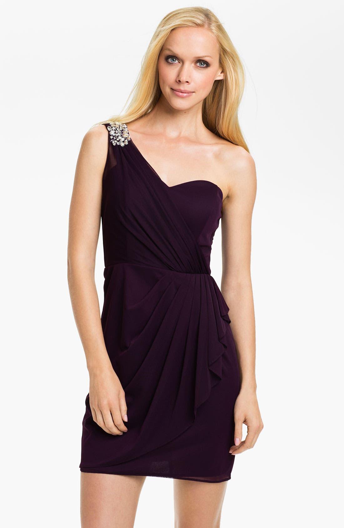 Main Image - Xscape Pleated One Shoulder Mesh Dress (Petite)