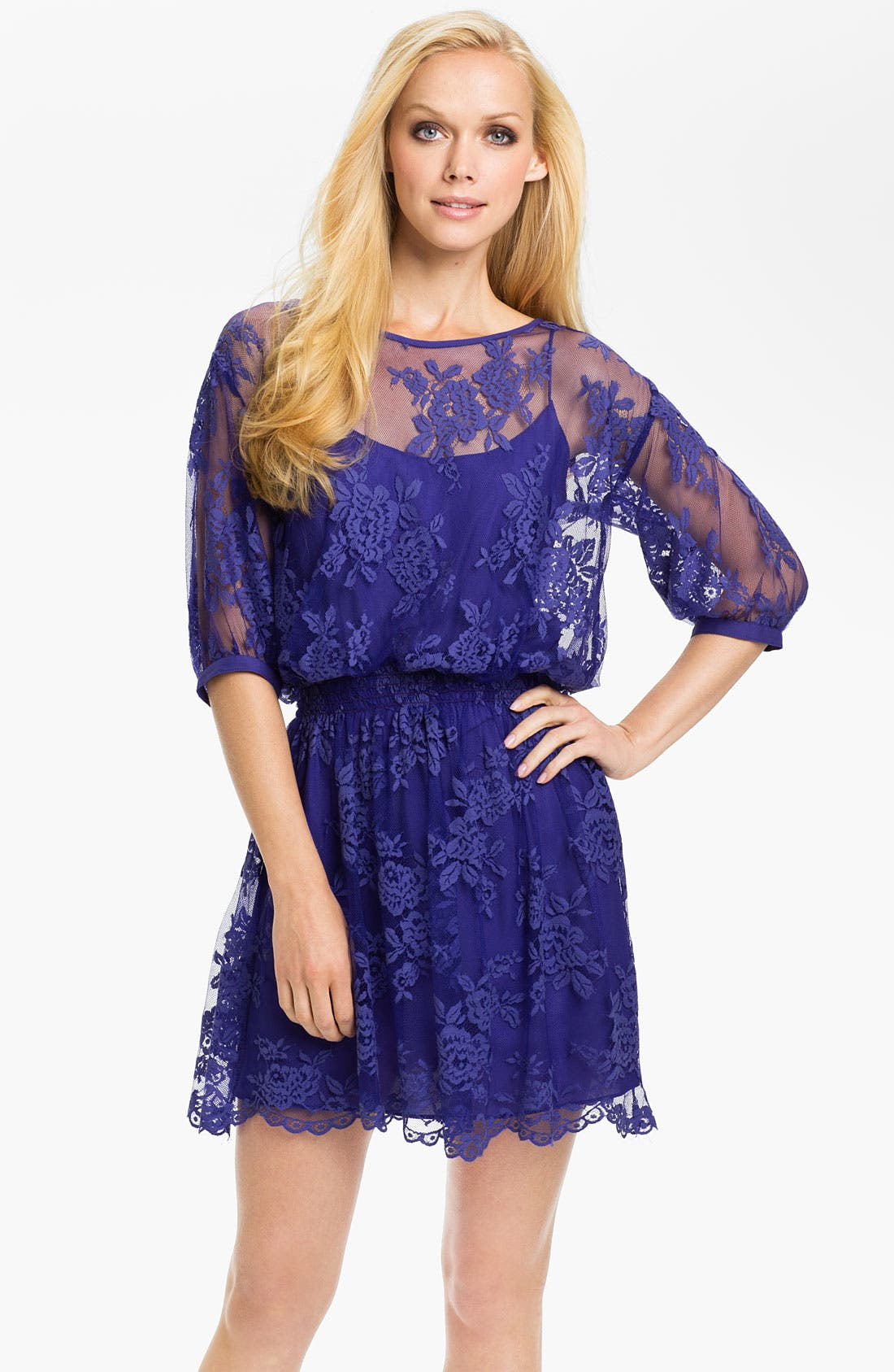 Main Image - Nicole Miller Lace Overlay Blouson Dress