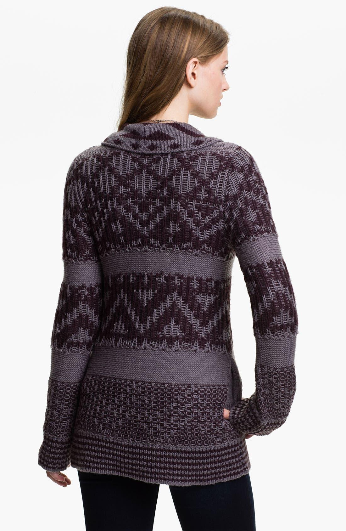 Alternate Image 2  - Rubbish® Draped Nordic Knit Cardigan (Juniors)