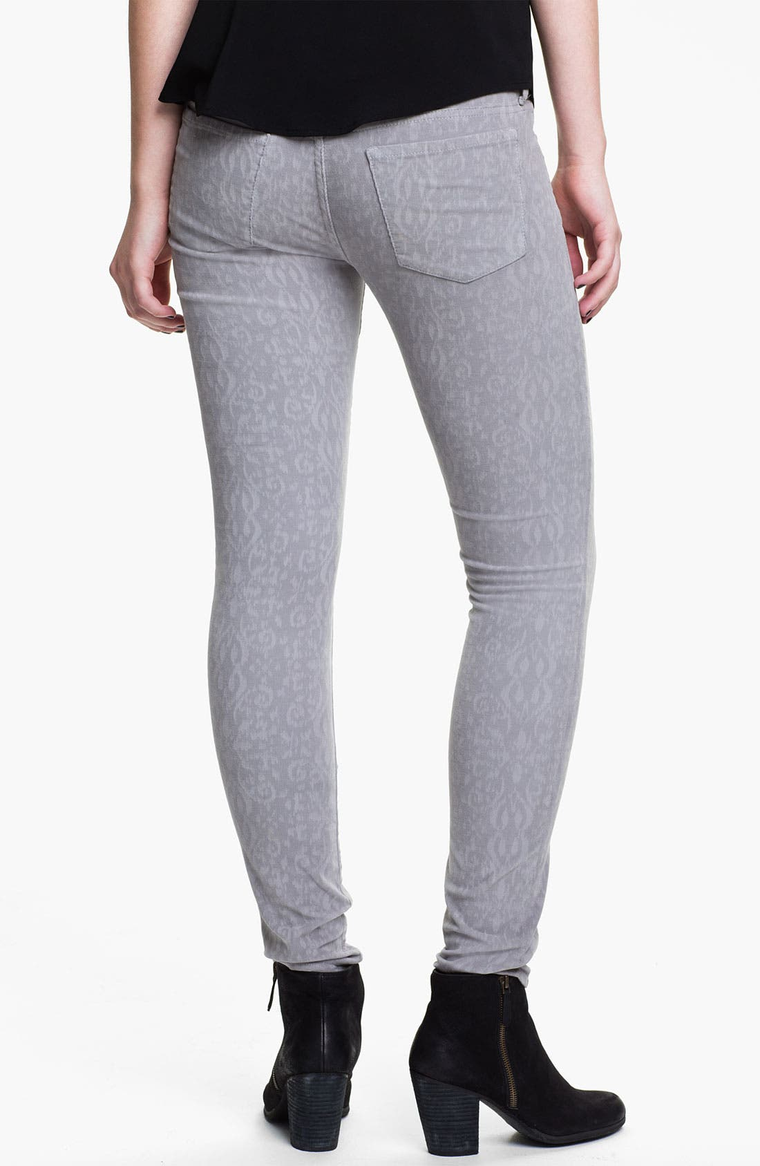 Alternate Image 2  - Articles of Society Print Skinny Corduroy Pants (Juniors)