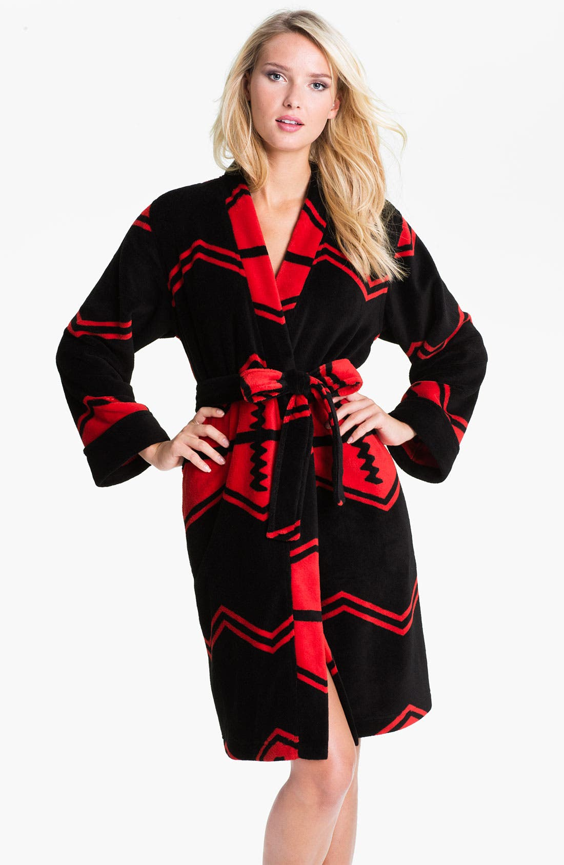 Alternate Image 1 Selected - Lauren Ralph Lauren Sleepwear Zigzag Stripe Plush Robe
