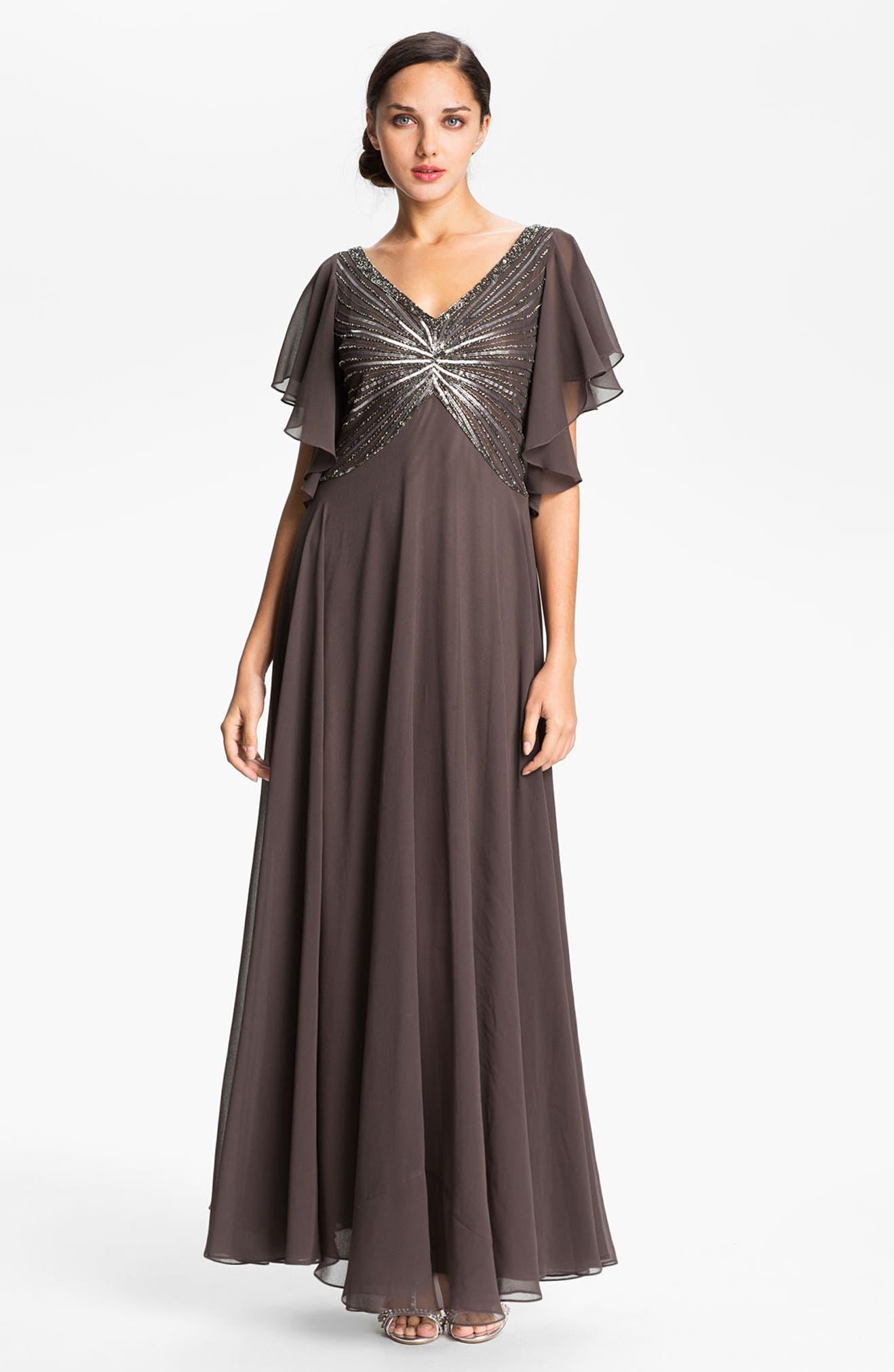 J Kara Sequin Bodice Flutter Sleeve Chiffon Gown | Nordstrom